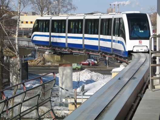 The monorail train approaching the station on Sergey Eyzenshteyn's street.